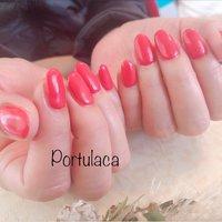 ワンカラー  #ワンカラー #赤  明るめの赤で気持ちがあがりますね〜☺︎  いつもありがとうございます♡ #ワンカラー #レッド #Portulaca #ネイルブック