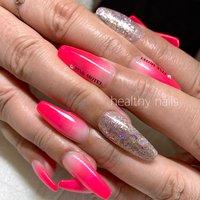 #オールシーズン #ハンド #ラメ #グラデーション #ロング #スカルプチュア #healthy nails #ネイルブック