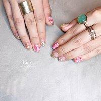 Pinkで春カラー🌸🌸 いつもありがとうございます❤︎ . . . #pink nail#ニュアンスネイル#大理石ネイル#キラキラネイル#春ネイル#nail#三木市#三木市ネイルサロン#三木市プライベートネイルサロン #お客様 #private nail salon Lian #ネイルブック