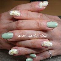 #春 #ハンド #シンプル #フラワー #ミディアム #スモーキー #ジェル #お客様 #aco's nail salon #ネイルブック