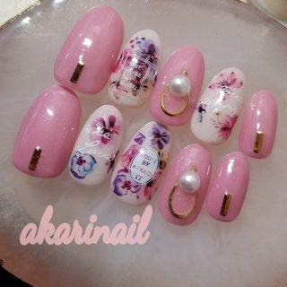 #ピンク #フラワーネイル  #くすみカラー #フラワー #ピンク #スモーキー #akari_nail #ネイルブック