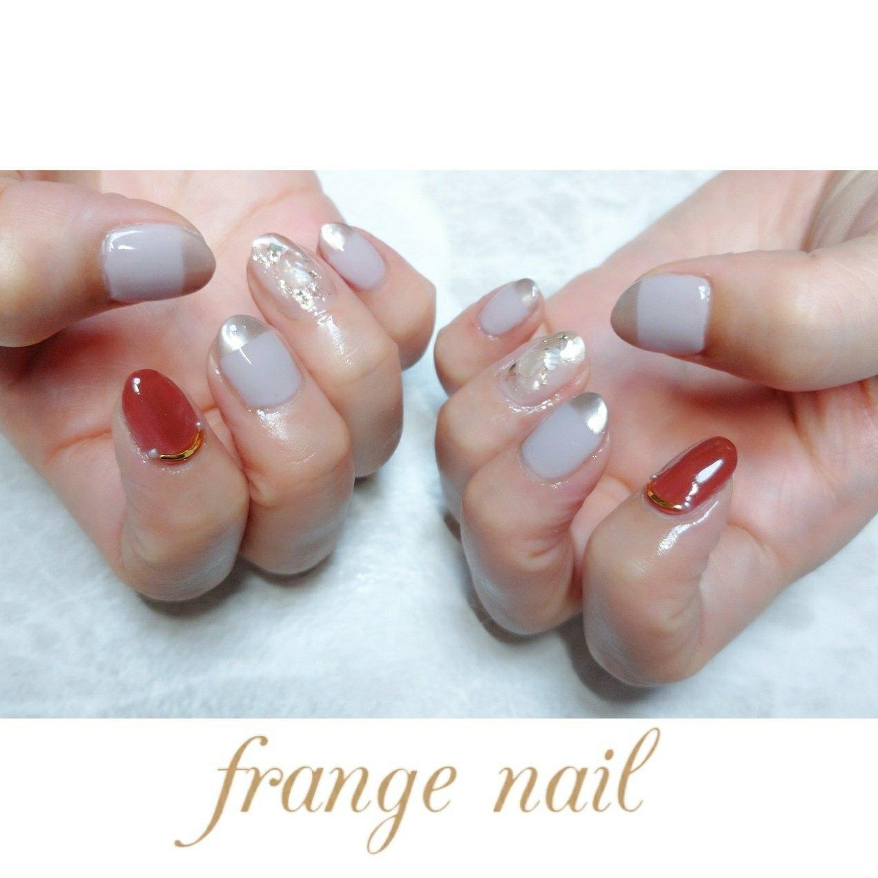 #ハンド #ニュアンス #ピンク #ブラウン #ジェル #お客様 #frange nail #ネイルブック