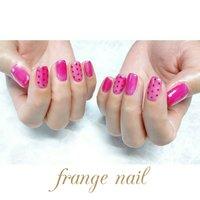 #ハンド #ドット #ピンク #レッド #ジェル #お客様 #frange nail #ネイルブック
