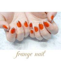 #ハンド #ミラー #オレンジ #ジェル #お客様 #frange nail #ネイルブック
