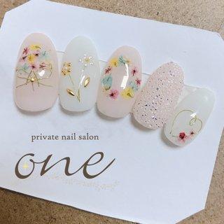 #押し花ネイル#ドライフラワー #春 #春ネイル #private nail salon one #ネイルブック