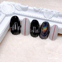 new sample💓 #nails #nailart #naildesign #nailstagram #ネイルアート#モチーフネイル#イメージネイル#ミラーボールネイル#ブラックネイル#仙台ネイルサロン #高橋 #ネイルブック