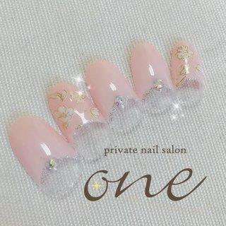 春らしいカラー&デザインで #春 #オールシーズン #フレンチ #フラワー #ピンク #ジェル #private nail salon one #ネイルブック