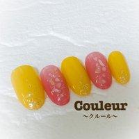 #春ネイル2020 #ピンク #黄色ネイル #春 #夏 #ハンド #シンプル #ホログラム #ミディアム #ピンク #イエロー #ジェル #Couleur~クルール~ #ネイルブック