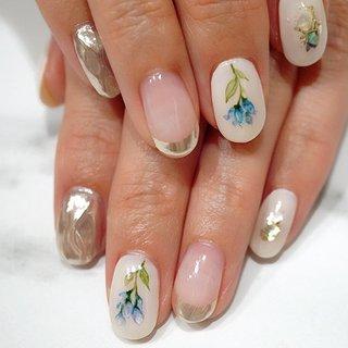 #お花ネイル#春ネイル#フラワーネイル#ミラーネイル#水彩フラワー#ブルー #かわいい #ange nail salon #ネイルブック