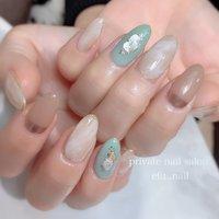 #スモーキー #シンプル #nails #春 #春ネイル # #春 #オールシーズン #ハンド #シンプル #シェル #ミディアム #ベージュ #スモーキー #ジェル #お客様 #efu.nail #ネイルブック