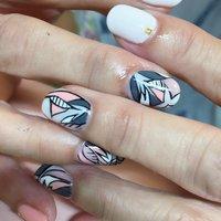#ハンド #ホワイト #ピンク #モノトーン #ジェル #お客様 #nail_charmant #ネイルブック