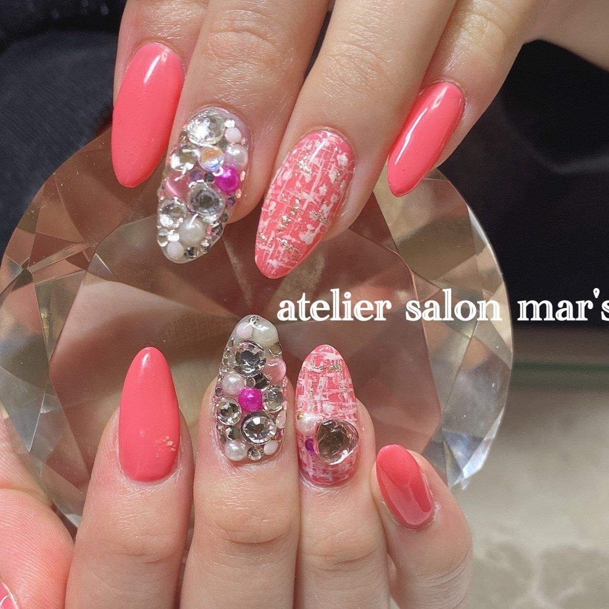 #spring #ピンク #女子力 #可愛い❤️ #ワンカラー #ビジュー #ハート #ツイード #デコ #ピンク #シルバー #masayo #ネイルブック