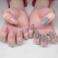 #ワンカラー #ピンク #水色 #ジェル #YURIA #ネイルブック