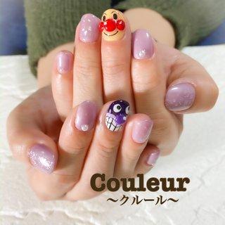 #紫ネイル #アンパンマンネイル #キャラクターネイル  今日は、アンパンマンとバイキンマンを入れて欲しいとの事で、1本ずつ入れさせて頂きました♡( * ॑꒳ ॑* ) #オールシーズン #ハンド #キャラクター #ミディアム #パープル #ジェル #お客様 #Couleur~クルール~ #ネイルブック
