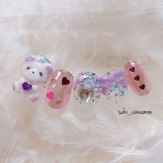 ゆめかわくまちゃん🐻🌸   #ネイル #ジェルネイル #ネイルアート #nail #nails #nailart #gelnail #福岡ネイル #福岡ネイルサロン #大牟田ネイル #美甲 #くまネイル #ゆめかわネイル #春 #ラメ #ハート #3D #ミラー #リボン #ピンク #パープル #saki_cinnamon #ネイルブック