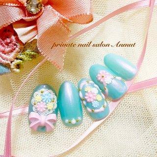 #レリーフネイル #プリンセスネイル#ディズニーネイル #オールシーズン #nail salon Anmut #ネイルブック