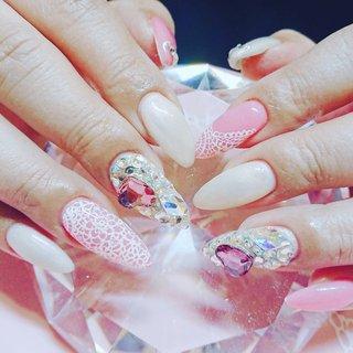 #春#ピンク#レース#白#埋め尽くし#ハート #みかぱん #ネイルブック