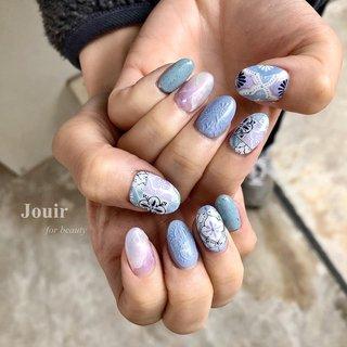 タイルアート🖌 すべて手描きです❁ #ハンド #ホログラム #ボヘミアン #エスニック #オーロラ #ホワイト #水色 #パープル #Jouir for beauty - hair nail eyelash- #ネイルブック