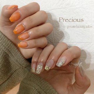 . . spring✿ . . オレンジ🍊 元気でるー!!!😆 . . . Precious 048-915-5205 . #Precious#privatebeautysaron#越谷ネイルPrecious#定額制#ネイルサロン#越谷#新越谷Precious#アシンメトリー#春ネイル2020#ニュアンスネイル春#2020春ネイル#オレンジネイル#Orange nails#koshigaya#saitama#nail#NAIL#cute#spring nails #Precious 〜プレシャス〜 #ネイルブック