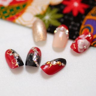 #成人式 #和柄ネイル #成人式 #卒業式 #入学式 #浴衣 #3D #和 #M's_nails #ネイルブック