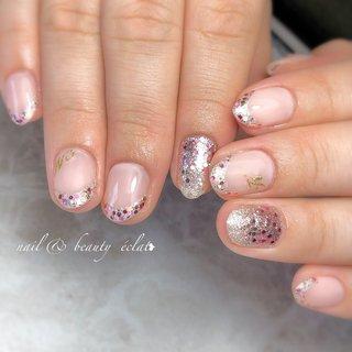 #ピンクネイル#ハートネイル#フレンチネイル#ホロネイル #nail & beauty éclat❥ #ネイルブック