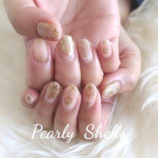 モロッカンニュアンス♪ GOLDカラーで大人ネイルに☆  #モロッカンネイル #アンティークネイル #手描きネイル #gold #大人ニュアンス #大人ネイル #オシャレネイル #ハンド #pearly.shell.s #ネイルブック