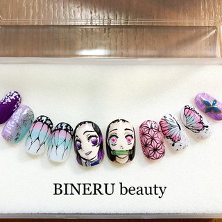しのぶちゃん、ねずこネイル💕 #オーダーネイルチップ #きめつのやいばネイルチップ #BINERU beauty #BINERU beauty #ネイルブック