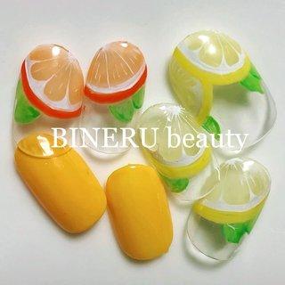 そろそろフルーツネイル🍋🍊💛🧡 #フルーツネイル #レモンネイル #オレンジネイル #BINERU beauty #静岡ネイルサロン #BINERU beauty #ネイルブック