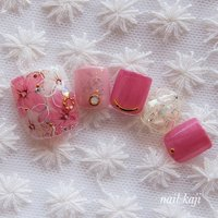 #フット #フラワー#お花ネイル#ピンク#大人可愛い#ガーリーネイル #春 #夏 #オールシーズン #フット #フラワー #ピンク #レッド #ジェル #ネイルチップ #nail_kaji #ネイルブック