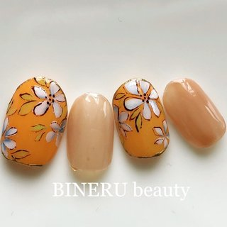オレンジネイル🧡 #春ネイル #オレンジネイル #BINERU beauty #静岡ネイルサロン #BINERU beauty #ネイルブック