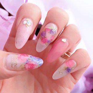 #水彩ネイル #おはなネイル  #ピンクネイル #makiko.r #ネイルブック