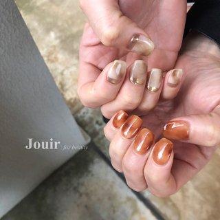 #ハンド #シンプル #ニュアンス #べっ甲 #マーブル #ミラー #ベージュ #オレンジ #ブラウン #Jouir for beauty - hair nail eyelash- #ネイルブック