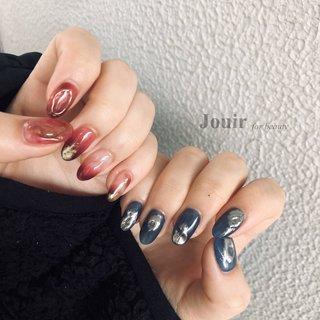 #ハンド #ニュアンス #ミラー #クリア #ネイビー #ボルドー #Jouir for beauty - hair nail eyelash- #ネイルブック