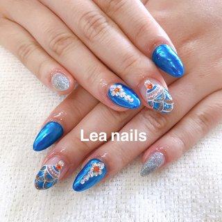 #ハンド #ラメ #ボヘミアン #ミラー #ブルー #シルバー #スカルプチュア #お客様 #Lea_nails #ネイルブック
