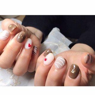 #アイシング #チョコレート #冬 #バレンタイン #ハンド #スイーツ #マット #ベージュ #ブラウン #グレージュ #ジェル #お客様 #cantabile2018 #ネイルブック