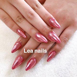 #ハンド #シンプル #ワンカラー #ミラー #ロング #ピンク #スカルプチュア #お客様 #Lea_nails #ネイルブック