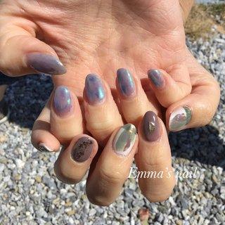 #ハンド #ニュアンス #オーロラ #ミラー #Emma's nail *エマズネイル* #ネイルブック