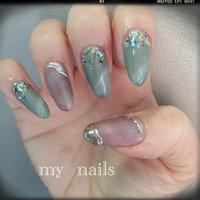 #mynails #自分ネイル #キャッツアイネイル #プライベートネイルサロン #プライベートネイルサロンsol #オールシーズン #ハンド #ラメ #シェル #ミラー #ミディアム #アースカラー #ジェル #セルフネイル #sol...hiromi #ネイルブック