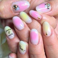 #Nailbook #ハンド #ホワイト #ピンク #イエロー #お客様 #miyu_yuura #ネイルブック