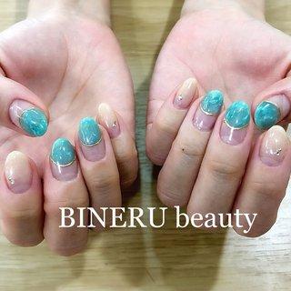エメラルドグリーンネイル✨ #エメラルドグリーンネイル #翡翠ネイル #大人ネイル #BINERU beauty #静岡ネイルサロン #BINERU beauty #ネイルブック