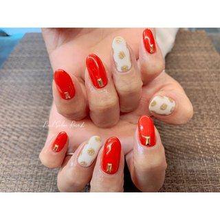#ワンカラー #レッド #ドット #Nail Salon Rose,h #ネイルブック