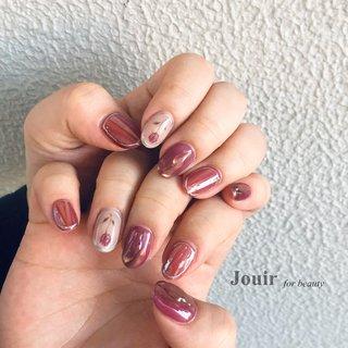 #ハンド #フラワー #水滴 #オーロラ #ミラー #クリア #パープル #ボルドー #Jouir for beauty - hair nail eyelash- #ネイルブック
