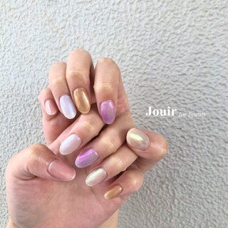 #ハンド #シンプル #ワンカラー #オーロラ #ミラー #クリア #メタリック #パステル #Jouir for beauty - hair nail eyelash- #ネイルブック