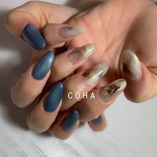 #夏 #オールシーズン #海 #リゾート #ハンド #大理石 #ロング #ベージュ #ブルー #COHA nail and art #ネイルブック