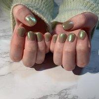 #オーロラ#グリーン #ショート #シンプル #ワンカラーネイル #オールシーズン #ハンド #シンプル #ワンカラー #ショート #グリーン #ジェル #お客様 #rosita nail #ネイルブック