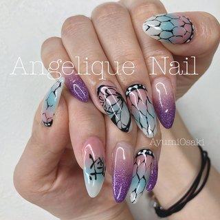 #鬼滅ネイル #ハンド #Angelique Nail…ayumi #ネイルブック