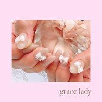可愛いリボンネイル #3dネイル #ハンド #シンプル #3D #ミディアム #ホワイト #ベージュ #nailsalon&school grace lady(グレースレディ) #ネイルブック