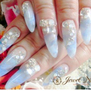 #梅雨 #海 #リゾート #浴衣 #ハンド #グラデーション #ラメ #ビジュー #マーブル #ロング #クリア #水色 #ブルー #スカルプチュア #お客様 #JEWEL SALON total beauty【旧jewel nail】 #ネイルブック