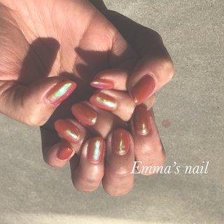 #ハンド #ミラー #ミディアム #オレンジ #ジェル #Emma's nail by nami #ネイルブック