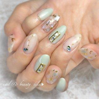 #春ネイル#パステルネイル#シェルネイル #nail & beauty éclat❥ #ネイルブック
